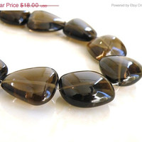 42% Off Smoky Quartz Gemstone Briolette Smooth Nugget 15mm 1/2 Strand 9 beads