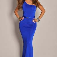 Ultra Sexy and Sleek Blue One Shoulder Maxi Dress