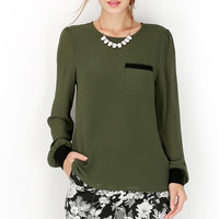 Contrast Trim Back Buttons Long Sleeve Blouse - Cypress Green