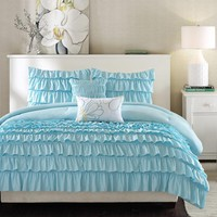 Light Blue Twin/Twin XL 4 Piece Comforter Set With 1 Shams & 2 Pillows