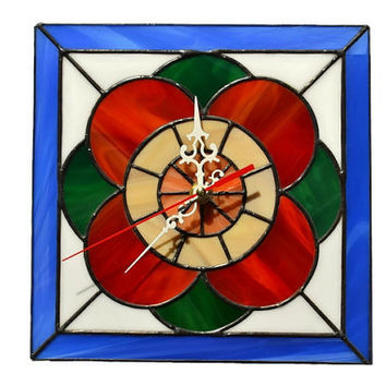 Wall Clock in Retro style - Unique Stained Glass Flower Wall Art - Home and Kitchen Decor with floral design