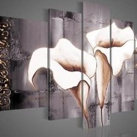 100% Hand-painted Free Shipping Wood Framed Brown Lily Fashion Flower Home Decoration Abstract Landscape Oil Painting on Canvas 5pcs/set Mixorde