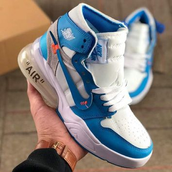 NIKE AIR JORDAN 1 x OFF-WHITE Joint high top cushion basketball shoes blue