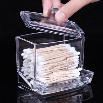 New Design Cotton Storage Portable Clear Acrylic Makeup Storage Cotton Swab Organizer Tank Cosmetic Holder For Home Hotel Office