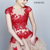 Sherri Hill 11153 Cap Sleeve Short Prom Dress