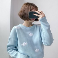 Harajuku 2018 Korean New Winter Sweaters Harajuku Cute 3D Clouds Hedging Thick Round Neck Women Sweater
