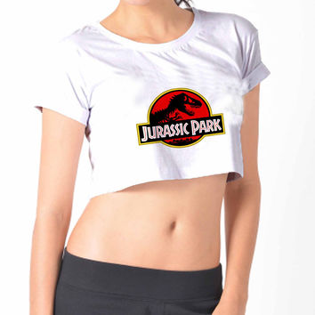 Jurassic Park crop top  Crop Shirt , Custom Crop Shirt , Woman Crop Shirt