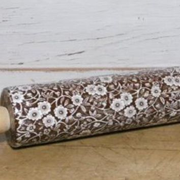 Brown Transferware Calico Rolling Pin Staffordshire Vintage Chintz