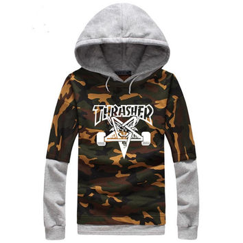 High Quality Spring Mens Camouflage Thrasher Hoodies Cotton Skateboards Magazine Camo Trasher Hooded Sweatshirts And Hoodie