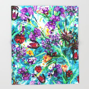 Floral Jungle Throw Blanket by RIZA PEKER