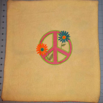 handmade throw pillow cover peace sign daisy embroidered design yellow fleece