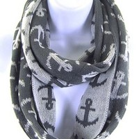 Anchor Nautical Print Infinity Knit Winter Fashion Scarf Grey