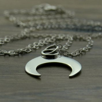 Sterling Silver Inverted Crescent Moon Necklace, Horn Moon Pendant,