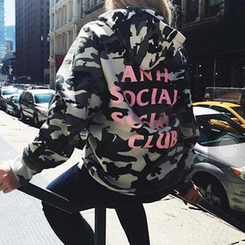 """Anti Social Social Club"" Autumn Winter Classic Fashion Grey Camouflage Hoodie Sweater Pullover Top Sweatshirt"