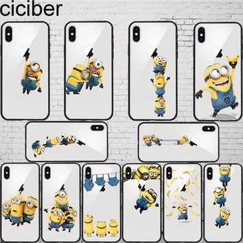 ciciber Funny Cartoon Despicable Me Minion Minions Case Cover Phone for iphone 7 8 6 X 7 PLUS Silicone Hard PC Hybrid Cases
