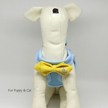 Dog harness with Yellow bow tie,Love and beloved, Mesh harness, Lightweight, Breathable, Comfortable, Washable harness, Puppy harness