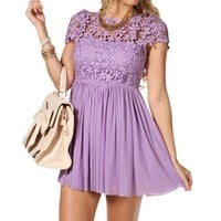 Sale-lavender Crochet Floral Dress