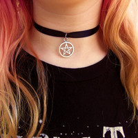 Pentagram choker ribbon choker wicca wiccan satin lace necklace