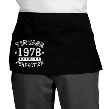 40th Birthday Vintage Birth Year 1978 Dark Adult Mini Waist Apron by