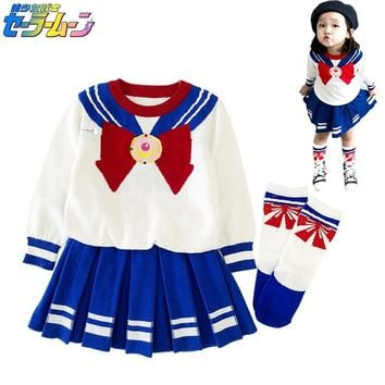 Kids Sailor Moon Cosplay Costume School JK Uniform Sailor Set Children  suit Tops Skirt Socks Girls Halloween