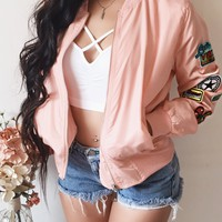 1 SMALL LEFT - Patch Me Up Bomber Jacket (BLUSH)