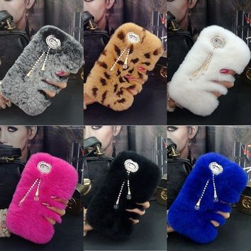 XINGDUO Hot Luxury Real Rabbit Fur Furry Warm Winter Bling Soft Back Phone Case Cover For iphone 7 7Plus 6 6S Plus 5 5S SE 4 4S