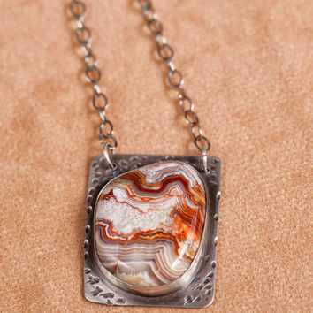 Sterling Silver Necklace With Lace Agate Cabochon and Bird Cutout