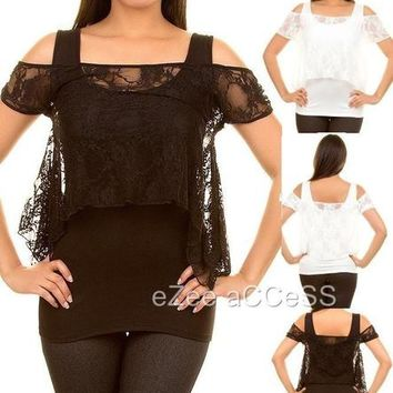 SeXY WoMeNS ToP oFF SHouLDeRS PeeKaBoo SHeeR MeSH FLoRaL NeT LaCe BLouSe ToP S-L