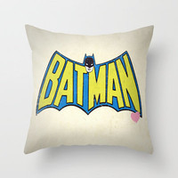 BATMAN VINTAGE Throw Pillow by John Medbury (LAZY J Studios) | Society6
