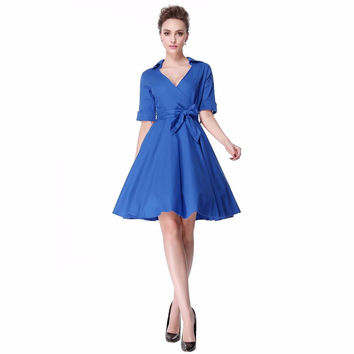 Heroecol Women V Neck Short Sleeve Vintage 50s 60s Swing Style Dresses Rockabilly 1950s 50's Party Blue Dress