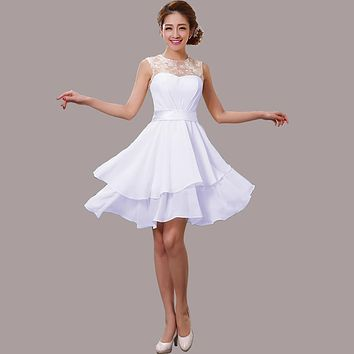 2017 summer new arrival lace up white Evening dress short design bandage party dress Ruffles bandage backless Homecoming dress