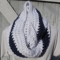 READY TO SHIP, Crochet Loop Scarf, Navy Blue and White Infinity Scarf, Large Chunky Scarf, Fall Winter, Women's Accessory, Cowl