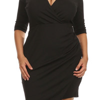 Plus Size Gia Black Angled Hem Dress