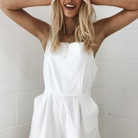 Can't Buy Me Love Romper // White