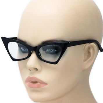 Pointy Cat Eye Glasses Sun Pinup Vintage Style Clear Smoke Multi Color Frames