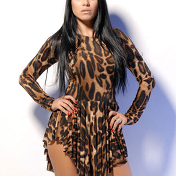 Leopard Print Asymmetric Long Sleeve Pleated Mini Dress