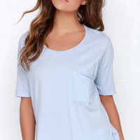 Look and Listen Light Blue Oversized Tee