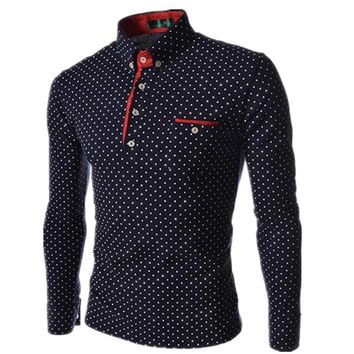 Men Polo Shirts New Autumn Man Fashion Polka Dot Long Sleeve Polo Shirt Male Button Henley Neck Casual Slim Fit Camisa Polo