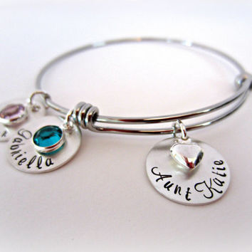 Aunt Charm Bracelet-Personalized Alex and Ani Inspired Stainless Steel Bracelet with Hand Stamped Sterling Silver Charms