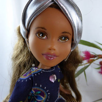 Silver linings OOAK made under, repainted Bratz doll. Changed doll with silver turban and Asian style dress