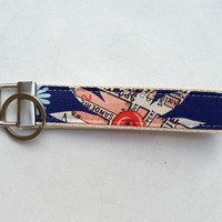 Handmade key chain. Wristlet keyring. Key fob Handmade blue floral key ring. Teacher's gift, thank you present or stocking filler.