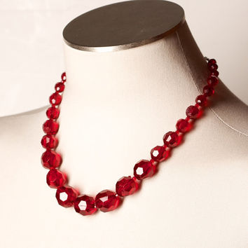 Red Faceted Plastic Bead Necklace