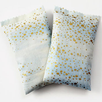 Ice Blue Lavender Sachets, Scented Drawer Sachets, Metallic Gold Dot Elements