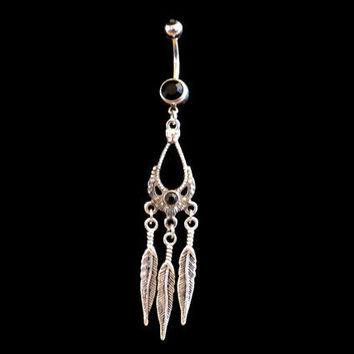 Dream Catcher Belly Ring with Feathers and Black Rhinestone Body Jewelry