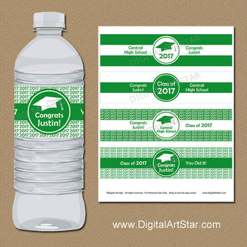 2017 Graduation Decorations, PRINTABLE High School Graduation Water Bottle Labels, College Graduation Download, Senior Graduation Labels G1