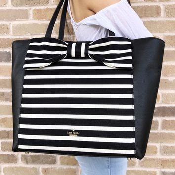 Kate Spade Olive Drive Stripe Savannah Large Tote Black Natural Canvas Leather