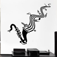 Wall Sticker Vinyl Decal Saxophone Sheet Music Jazz Blues Lover (ig1295)