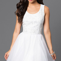 Short Lace White Graduation Dress, Emerald Sundae