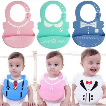 Baby Bibs Waterproof Silicone Feeding Infant Saliva Towel Newborn Cartoon Aprons Baby Food-grade Silicone Bibs One Size/pink