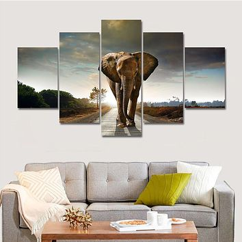 Drop-shipping Hot Modern Printed Elephant Oil Painting 5 Panel Cuadros Canvas Wall Art for Home Decor Modular Painting Unframed